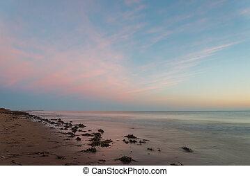océan, plage, à, les, fissure, de, aube