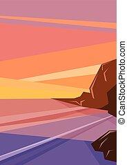 océan, rochers, fantasme, cout, coucher soleil, tropique, horizont