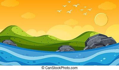 océan, scène nature, coucher soleil