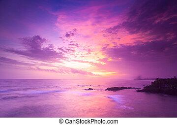 océan, sur, coucher soleil