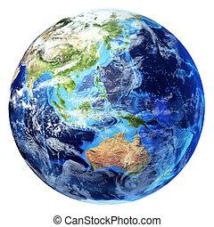 océanie, d, globe, quelques-uns, clouds., réaliste, 3, ...