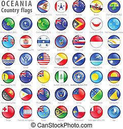 océanie, drapeau national, boutons, ensemble