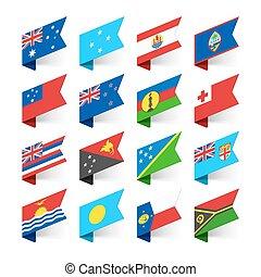 océanie, drapeaux, mondiale