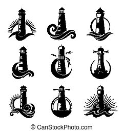 océanique, mer, symboles, business, vagues, icônes, stylisé, logo., marin, silhouettes, phare