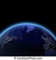 océano, atlántico, espacio