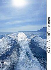 océano azul, estela, mar, blanco, barco