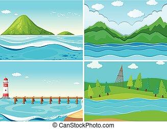 océano, colinas verdes, escenas