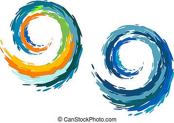 océano, colorido, ondas