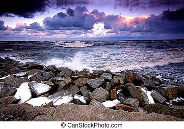 océano de puesta de sol