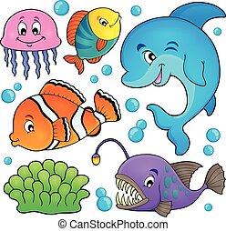 océano, fauna, topic, conjunto, 1