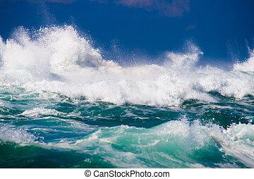 océano, fuerte, onda