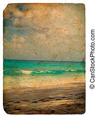 océano, indio, viejo, seychelles., postcard.