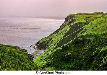 océano, litoral, con, verde, acantilados, en, tierras altas...