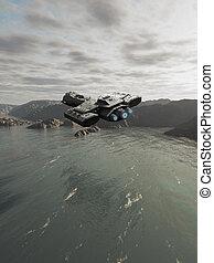 océano, nave espacial, vuelo