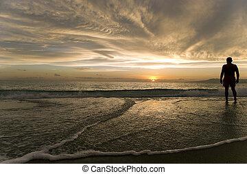 océano, ocaso, hombre, silueta