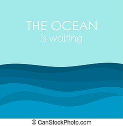 océano ondea, ilustración