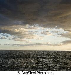 océano pacífico, y, clouds.