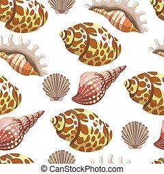 océano, patrón, concha marina, mar, conchas, seamless