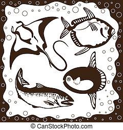 océano, pez, vector, conjunto
