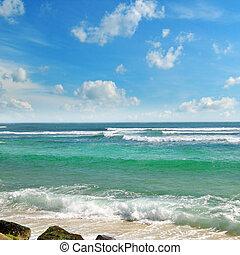 océano, pintoresco, playa, y azul, cielo