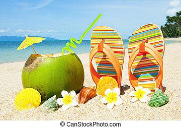 océano, playa, con, palma, y, exótico, coctail