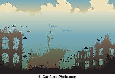 océano, restos