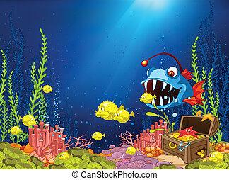 océano, submarino, caricatura