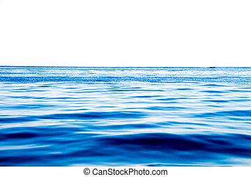 océano, superficie, y azul, cielo, con, nubes