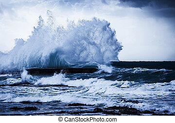 océano, tempestuoso, ondas