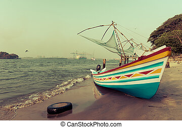 océano, tradicional, indio, barco, costa, paisaje