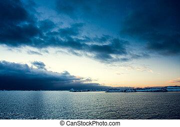 océano, y, perfecto, cielo, con, sol, frijoles