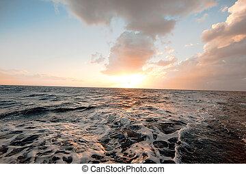océano, y, sol