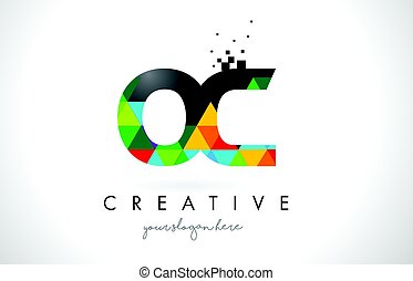 OC O C Letter Logo with Colorful Triangles Texture Design Vector.