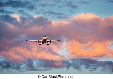 ocaso avião, aterragem