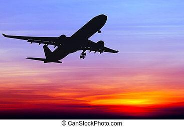 ocaso, avión, vuelo, comercial, silhouetted