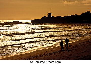 ocaso, california, océano pacífico