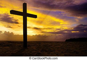 ocaso, cristiano, cruz, plano de fondo