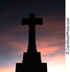 ocaso, cruz, plano de fondo