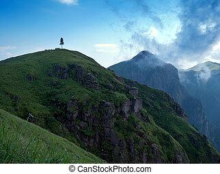 ocaso, cuándo, el, montañas