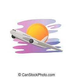 ocaso, detallado, viaje, escena, estilo, vacaciones del verano, avión, vuelo