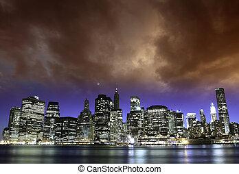 ocaso, en, ciudad nueva york