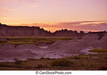 ocaso, en, el, badlands