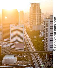 ocaso, en, el, bangkok, ciudad