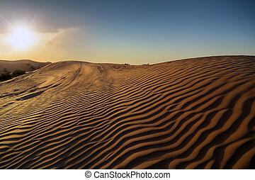 ocaso, en, el, desierto, dunas, paisajes, hermoso, naturaleza