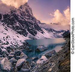 ocaso, en, el, himalaya, montañas