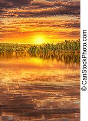 ocaso, en, el, orilla, de, hermoso, lago