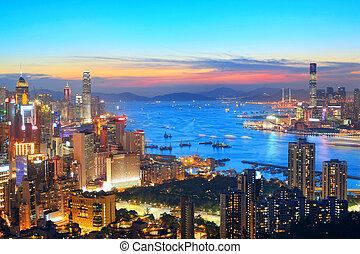 ocaso, en, hong kong, ciudad