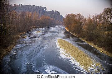 ocaso, en, un, congelado, río, en, el, invierno