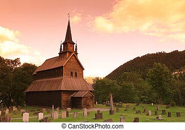 ocaso, en, viejo, kaupanger, travesaño, iglesia, noruega