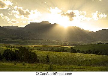 ocaso, encima, drakensberg, montañas